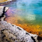 """En remontant près de Rotorua, un arrêt au Wai-O-Tapu Thermal Wonderland était obligatoire. C'est un endroit très sulfureux, avec des geysers ( dame blanche très connue ), et d'autres merveilles du genre. Voici une photo du lac """"Champagne Pool"""", très coloré. Feel free to share, like, comment."""